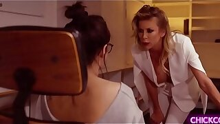 MILF lesbian boss Alexis Fawx feels sohorny right now so she quicky called her sexy teen assistant and started a hot lesbian sex with her.