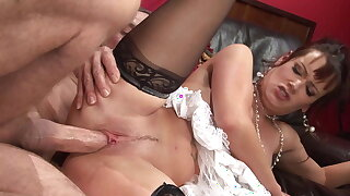Old big dick man fucks the hot big tits brunette MILF hard