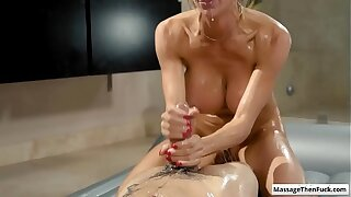 Hot busty blonde milf Alexis Fawx covered in nuru gel ride her clients hard cock