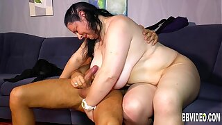 Tattooed fat german milf gets big tits jizzed