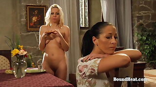 Lesbian Blonde Slave Takes A Bath In Front Of Dominant Madame