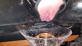 Slut-Orgasma Celeste enjoys a cigarette and a piss drink