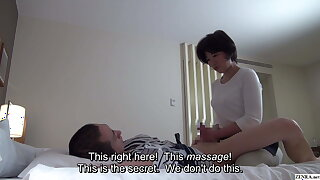 Japanese hotel massage – mature masseuse gives handjob